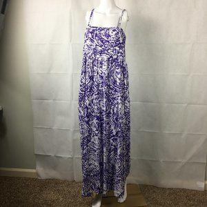 Chicos Purple White Jersey Maxi Dress Sz XL 3 16